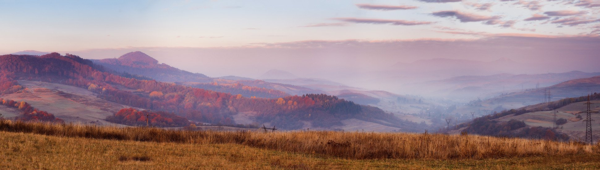 Горы, Карпаты, Ноябрь, Осень, Панорама, Рассвет, Утро, Вейзе Максим