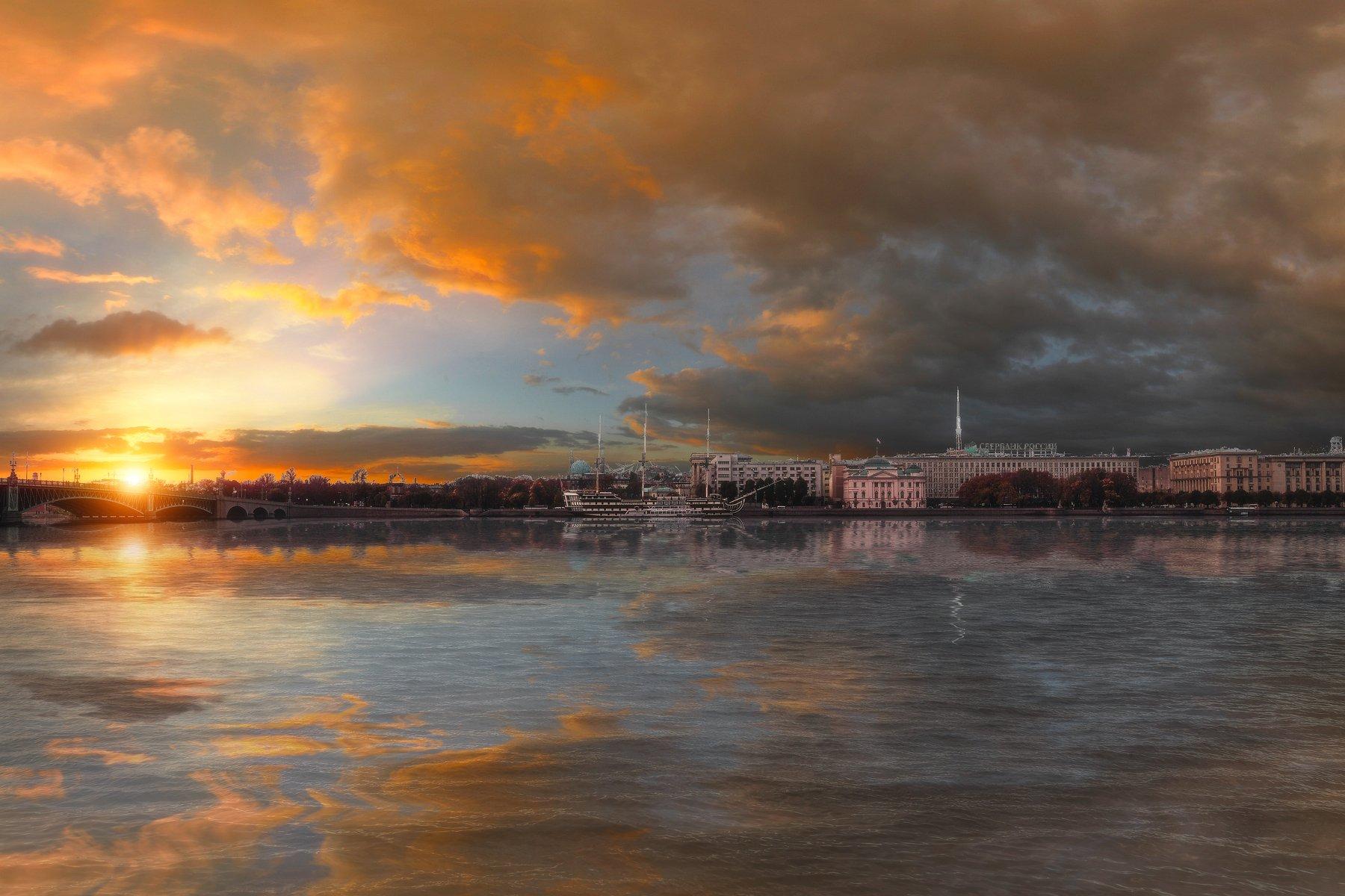 спб, осень, город, city, landscape, russia, россия, river, lake, cloud, sky, amazing,, Михайлов Андрей
