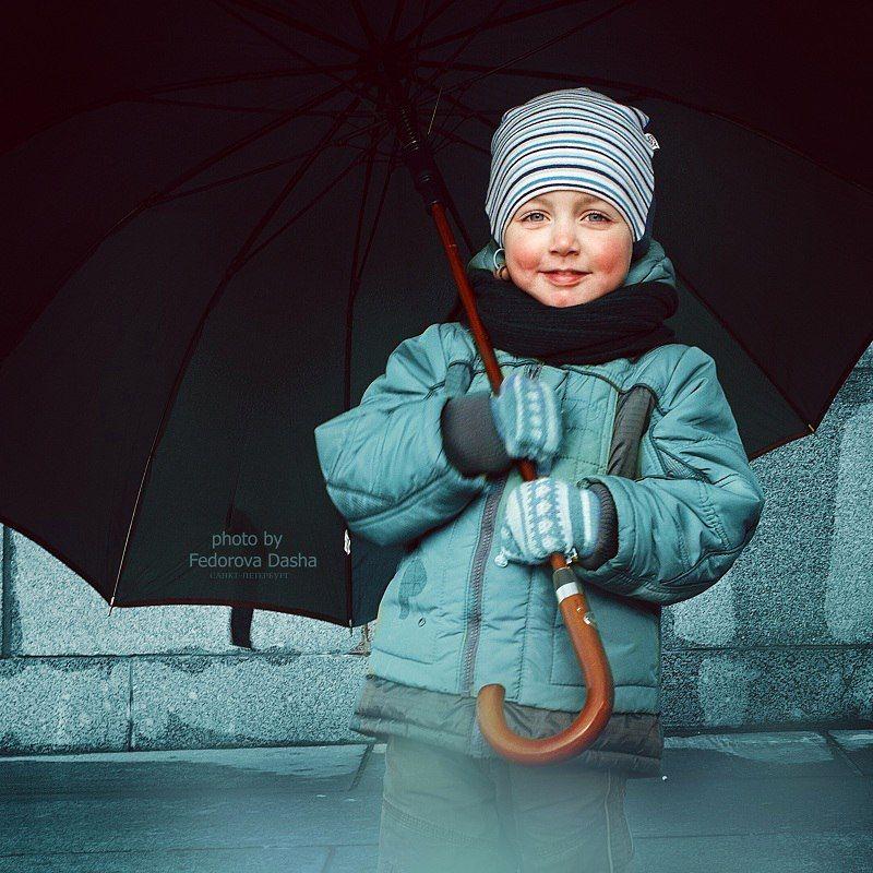 ребенок мальчик осень зонтик , Фёдорова Дарья