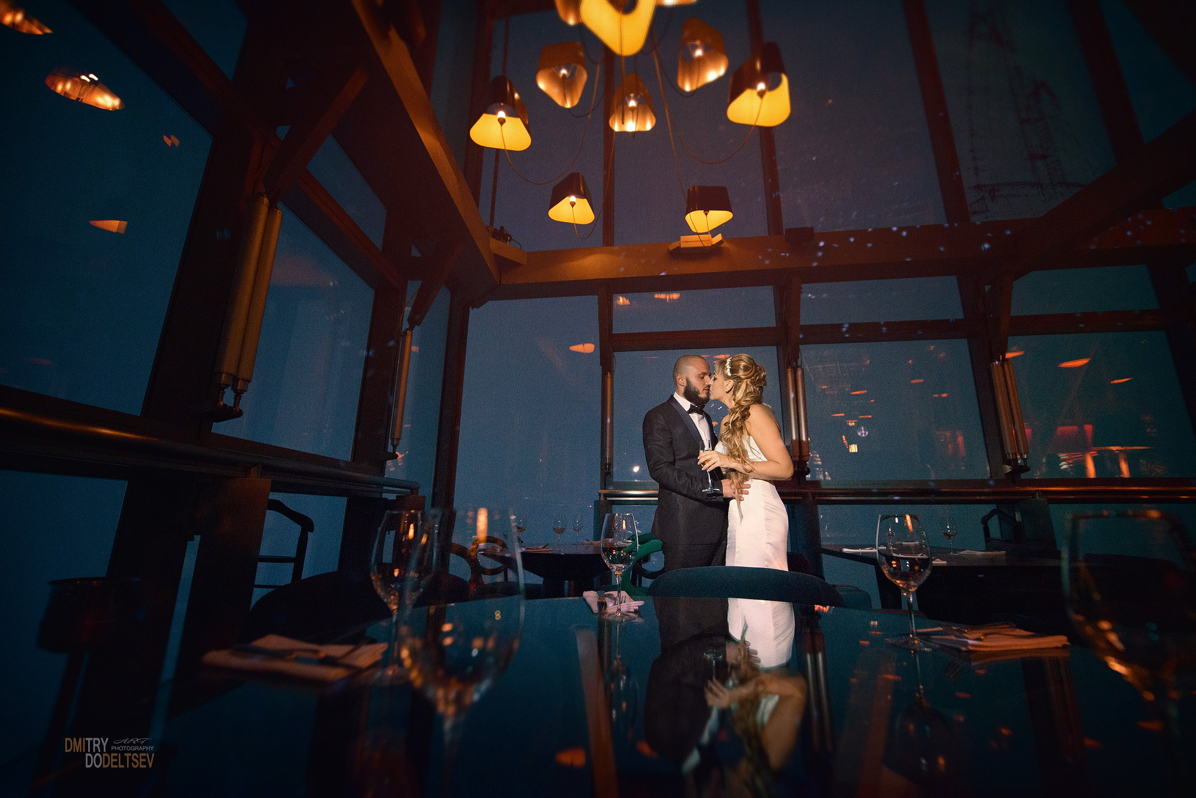 Москва сити, Sixty, ресторан, свадьба, жених, невеста, ночь, Дмитрий Додельцев