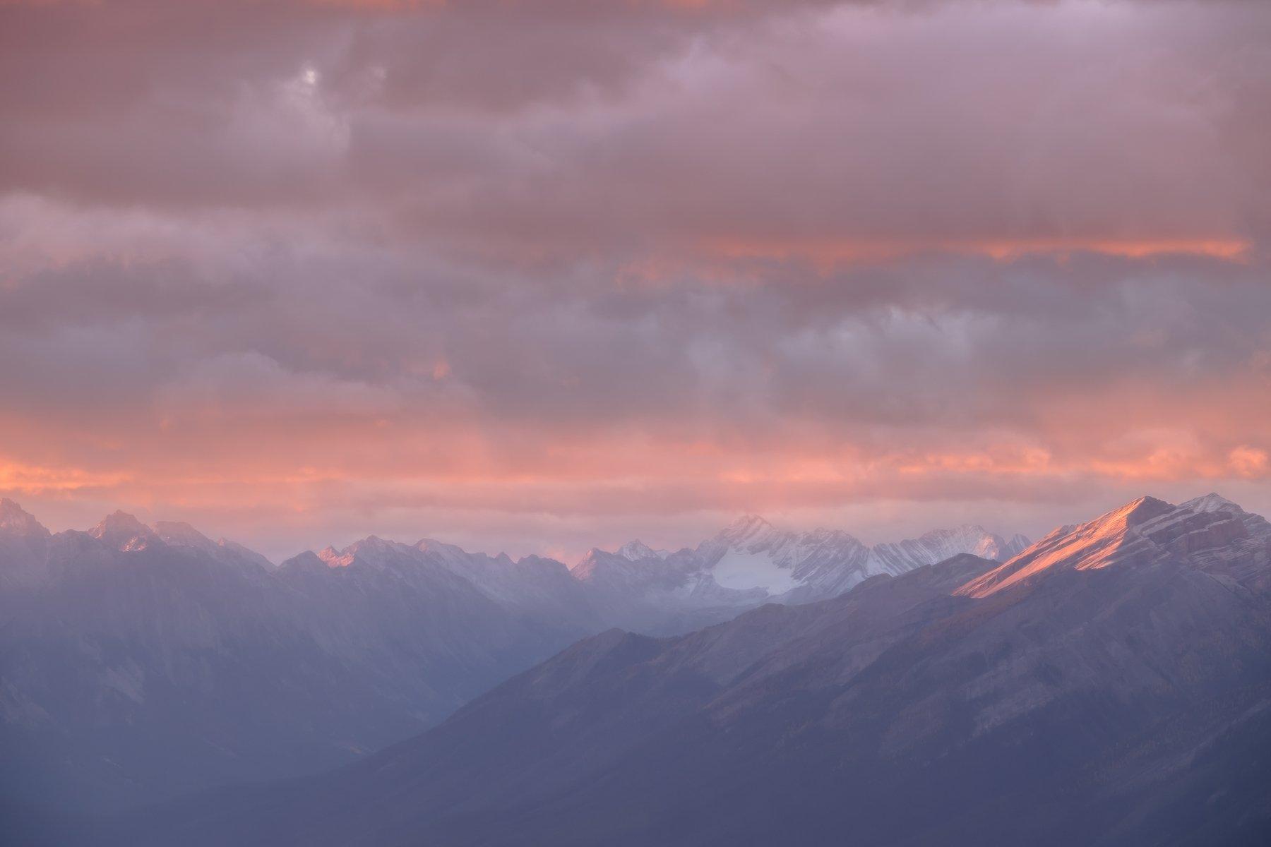 Canada, Alberta, Banff, Rockbound, sunrise, clouds, pink, Денис Семенов