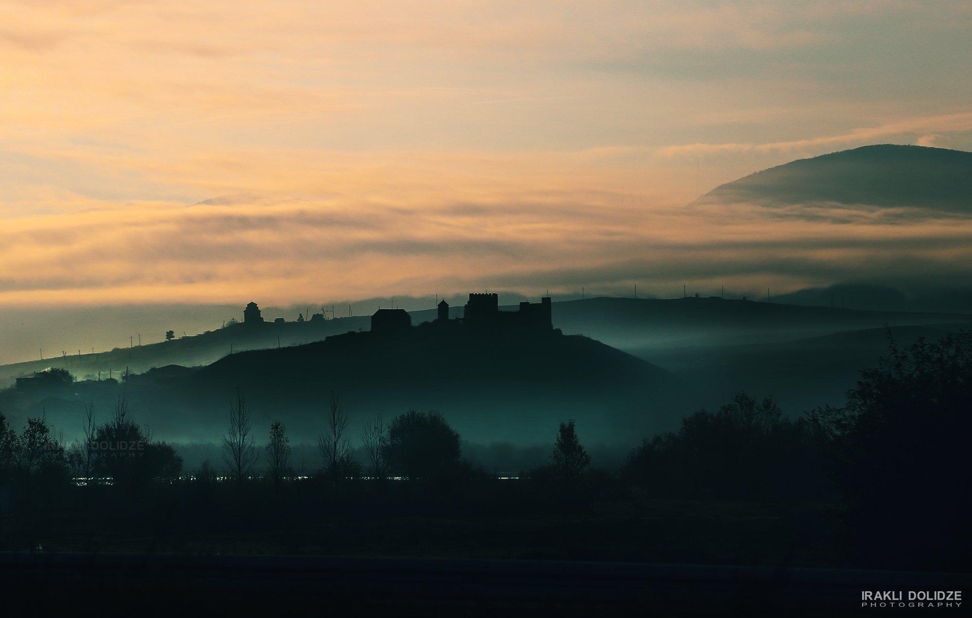 morning, fog, landscape, church, silluette, colors,, ირაკლი დოლიძე