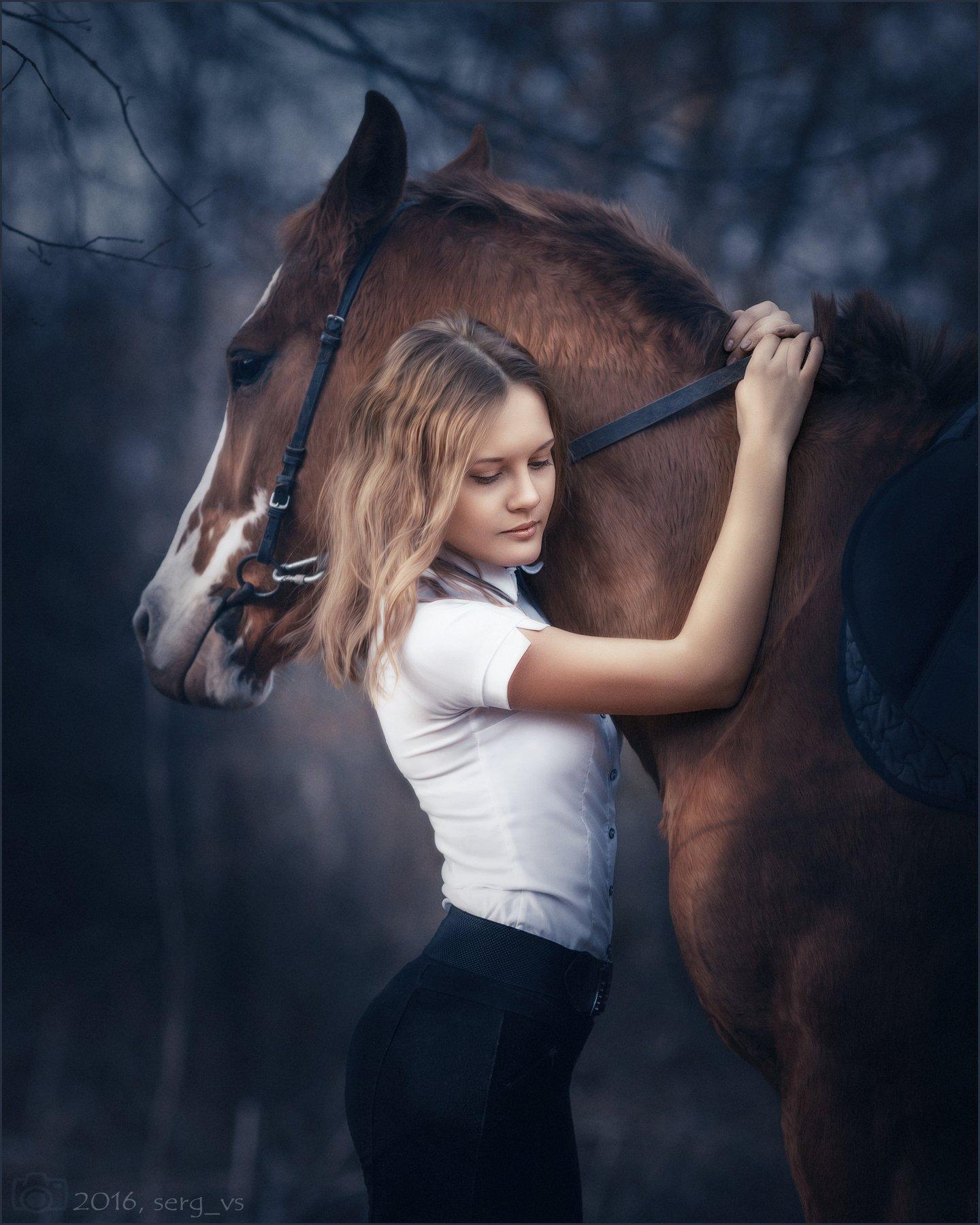 портрет девушка лошади жанр, Сергей Сатуло