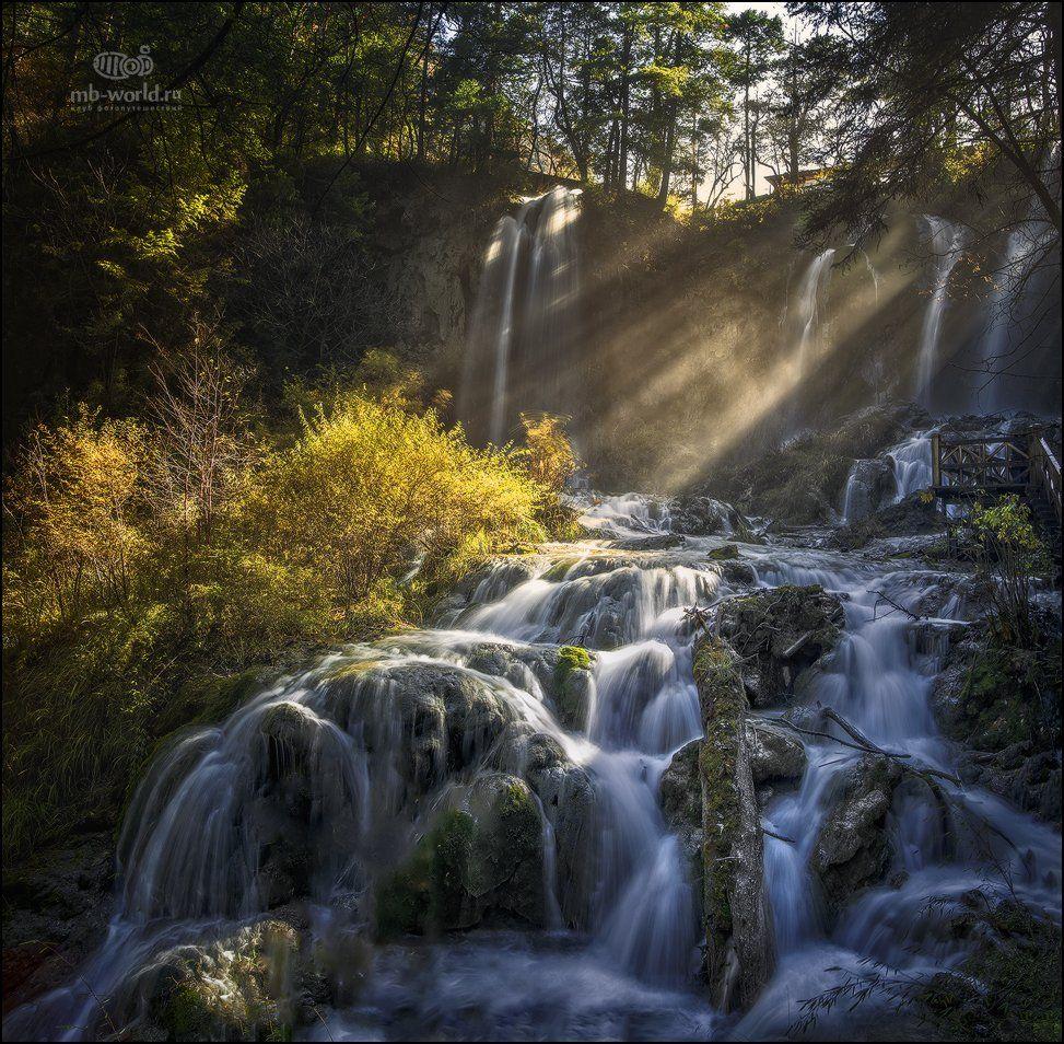 Китай, Цзючжайгоу, свет, пейзаж, водопад, утро, Михаил Воробьев