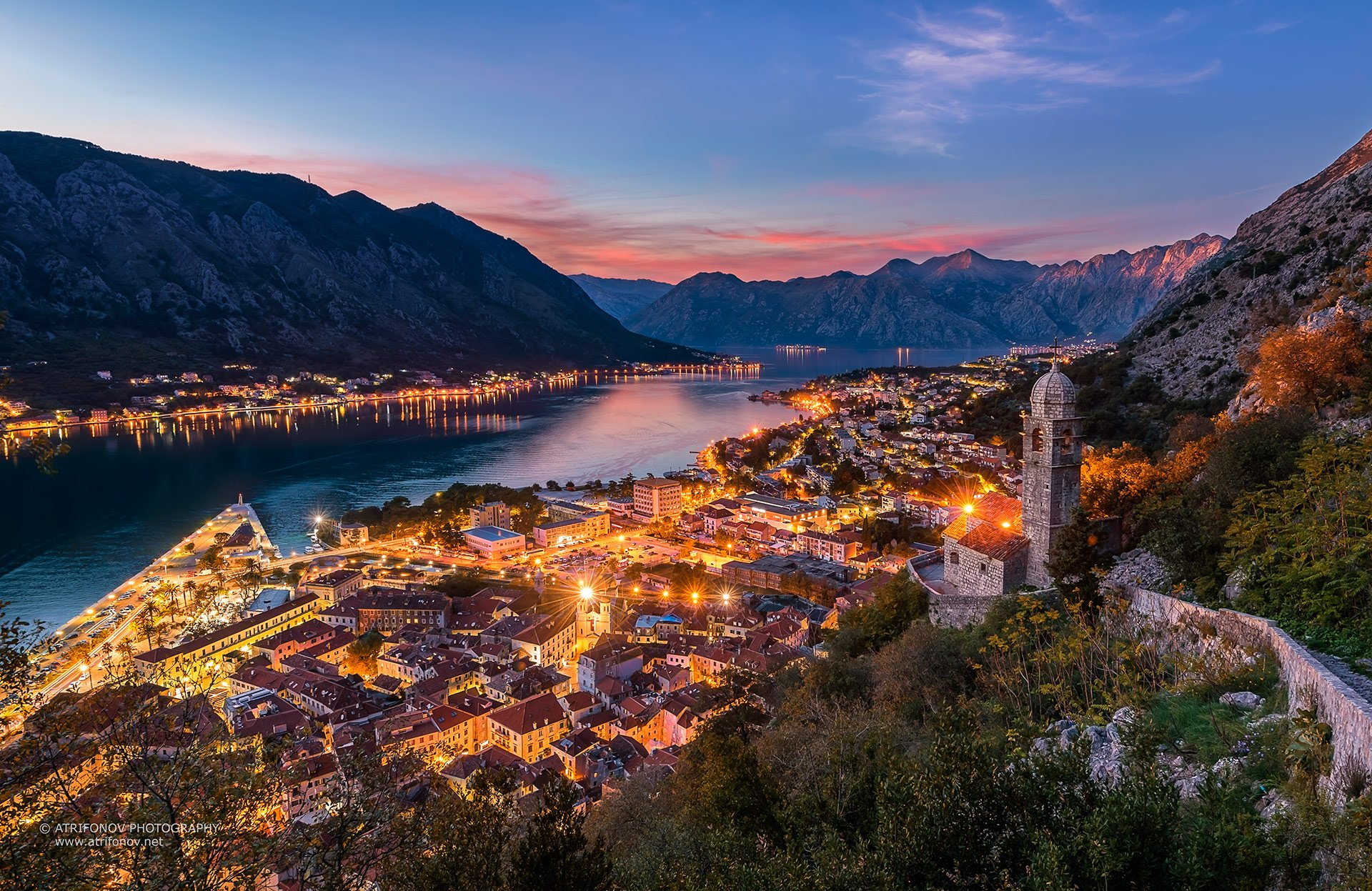 Kotor, Montenegro, Kotor bay, town, adriatic sea, lights, night, sunset, church, fortress, ancient, mountain, Andrey Trifonov