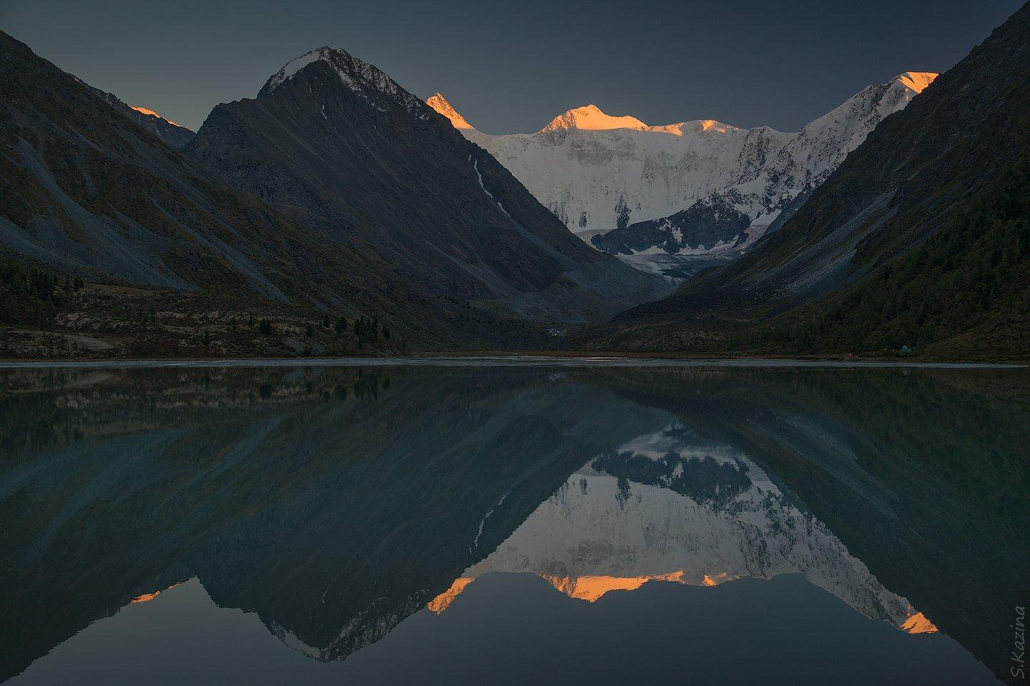 алтай, горный алтай, горы, озеро, белуха, ак-кем, аккем, пейзаж, зеркало, отражение, reflection, mountains, nature, siberia, Светлана Казина