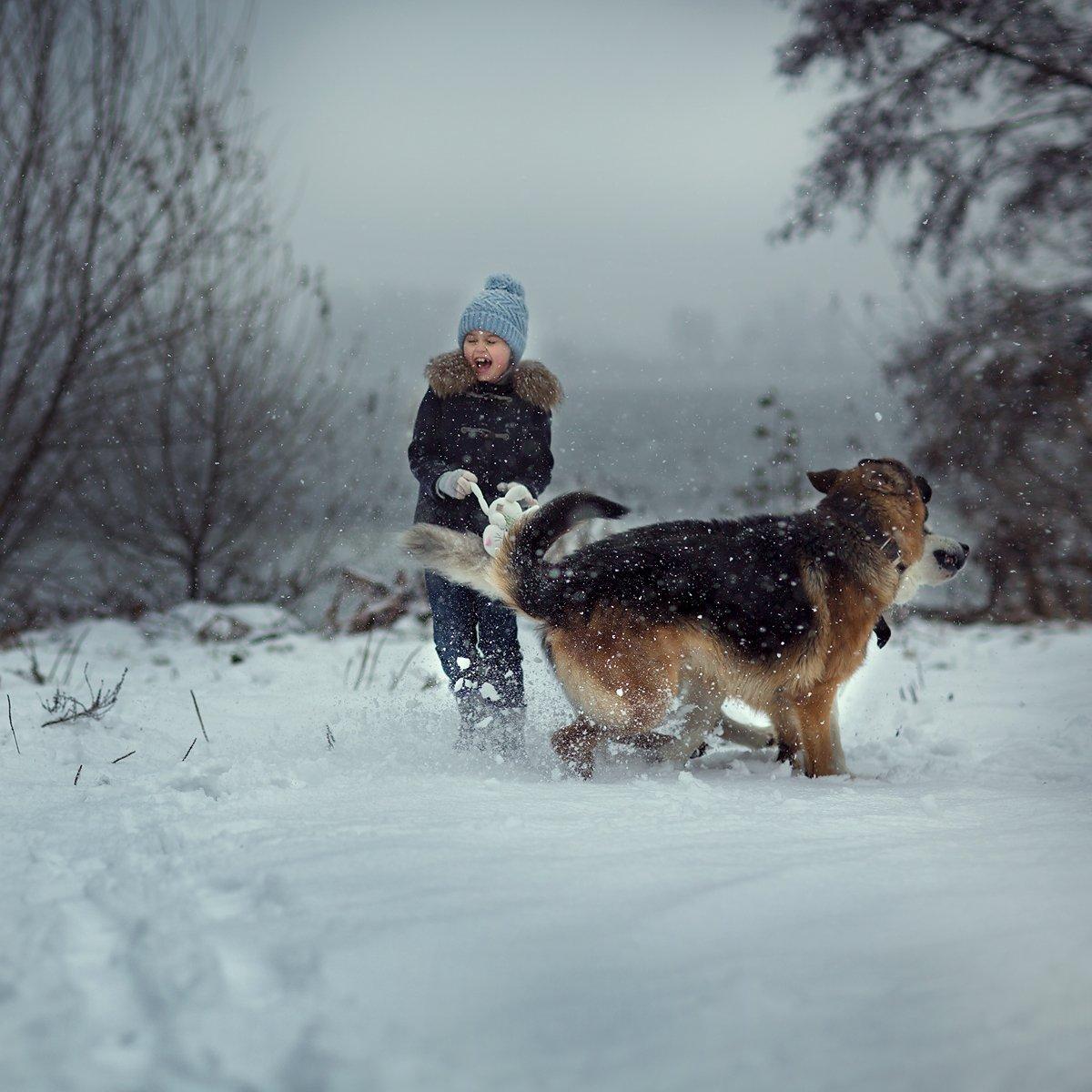 child, kid, childhood, happy, friends, winter, snow, Юлия Карпова