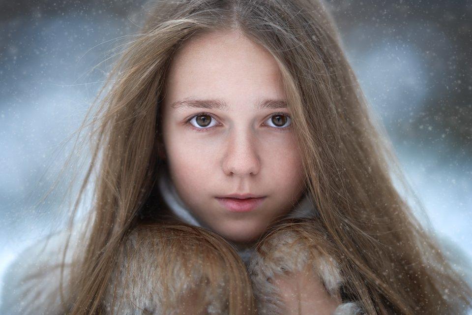 портрет, глаза, снег, Анастасия Крылова