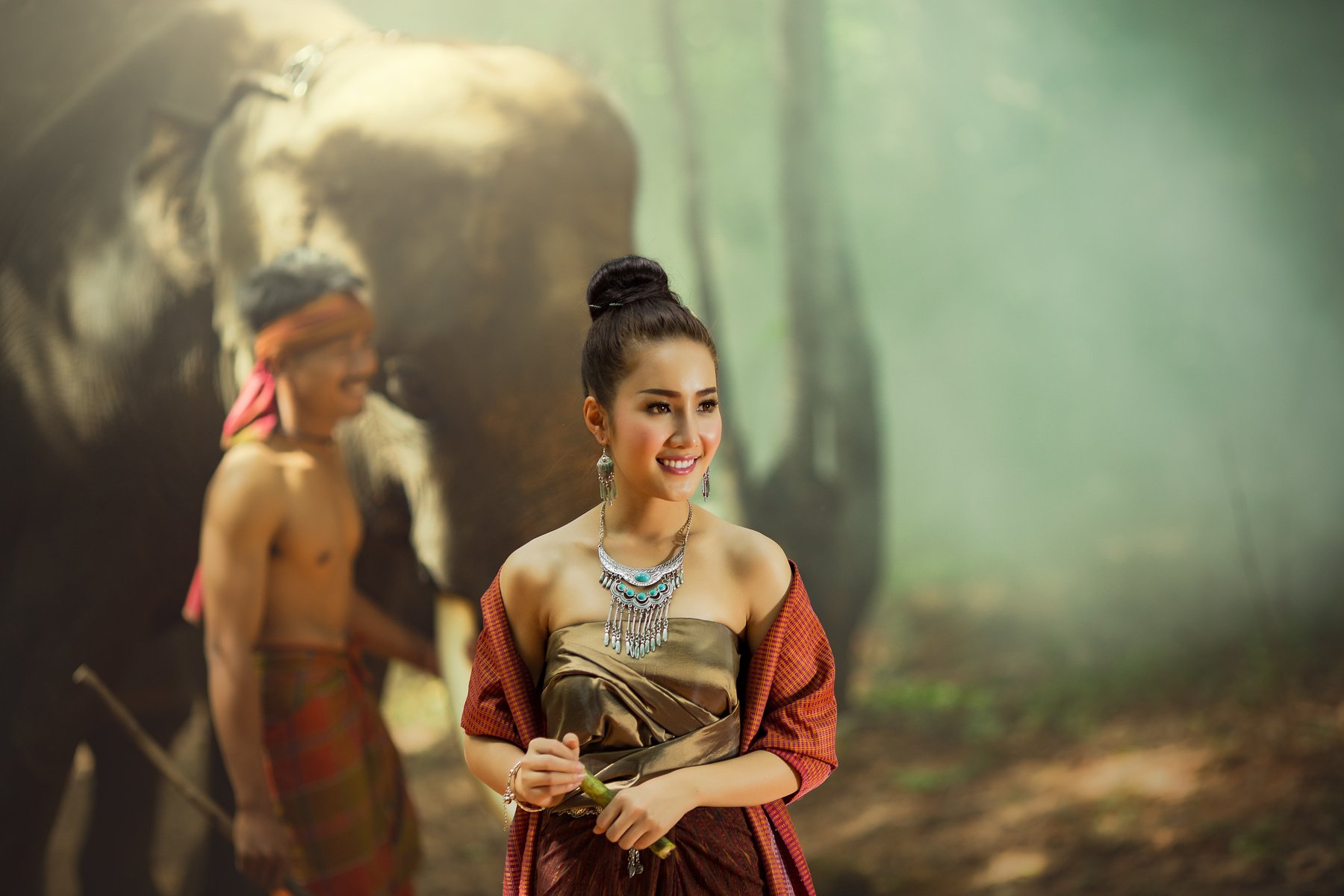 people,portrait,woman,man,elephant,, SUTIPORN SOMNAM