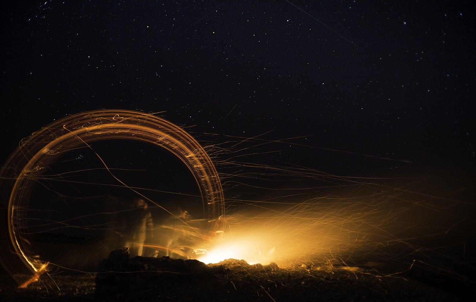 ночь, огонь, звезды, море, Евгений Труфанов