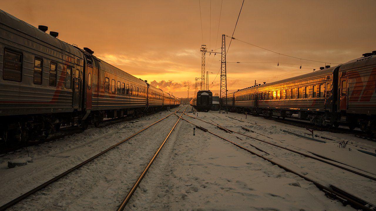 закат,ржд,поезда,путь, Карепанов Евгений