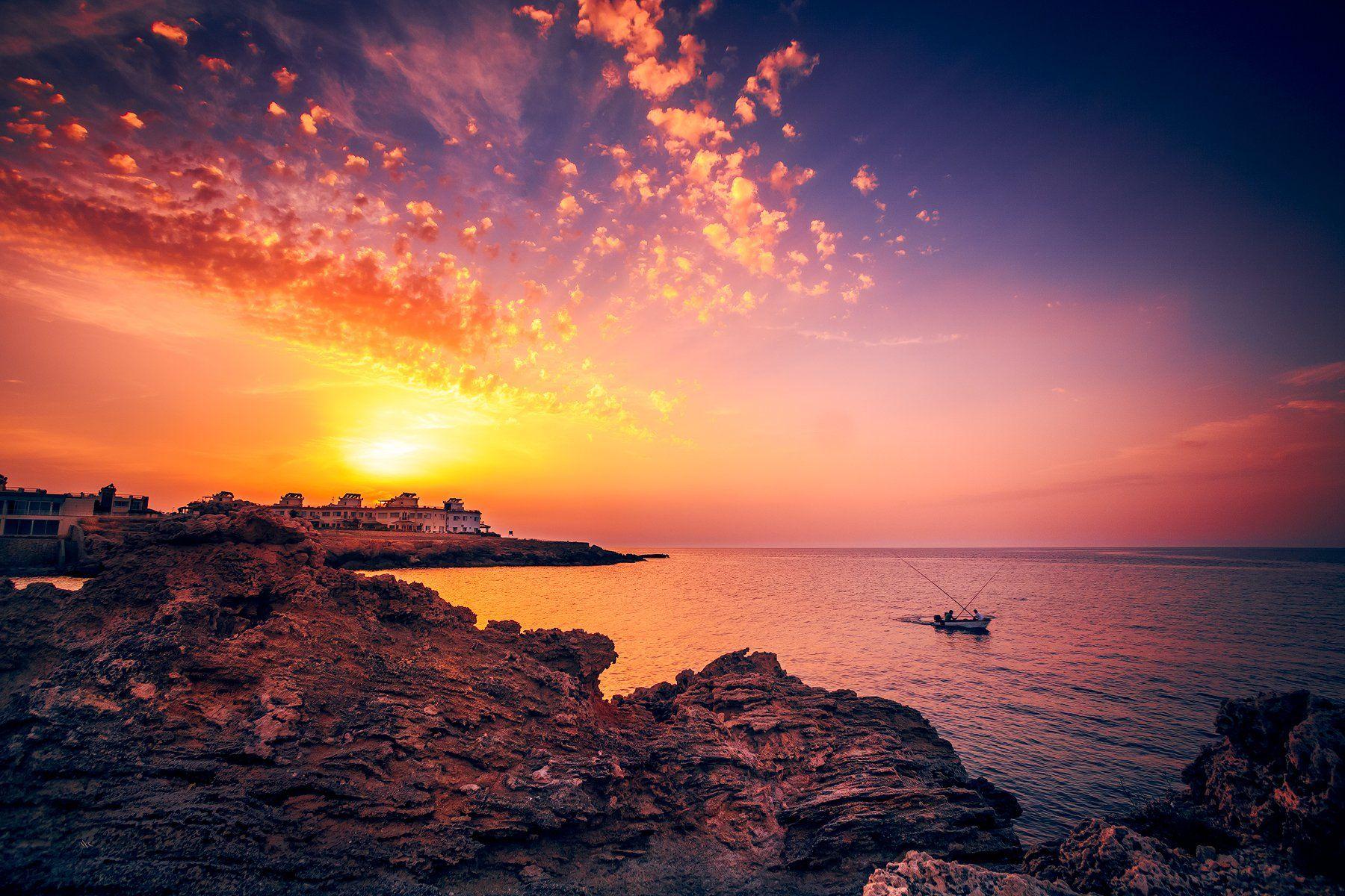 cyprus, sunset, colors, boat, Руслан Болгов (Axe)