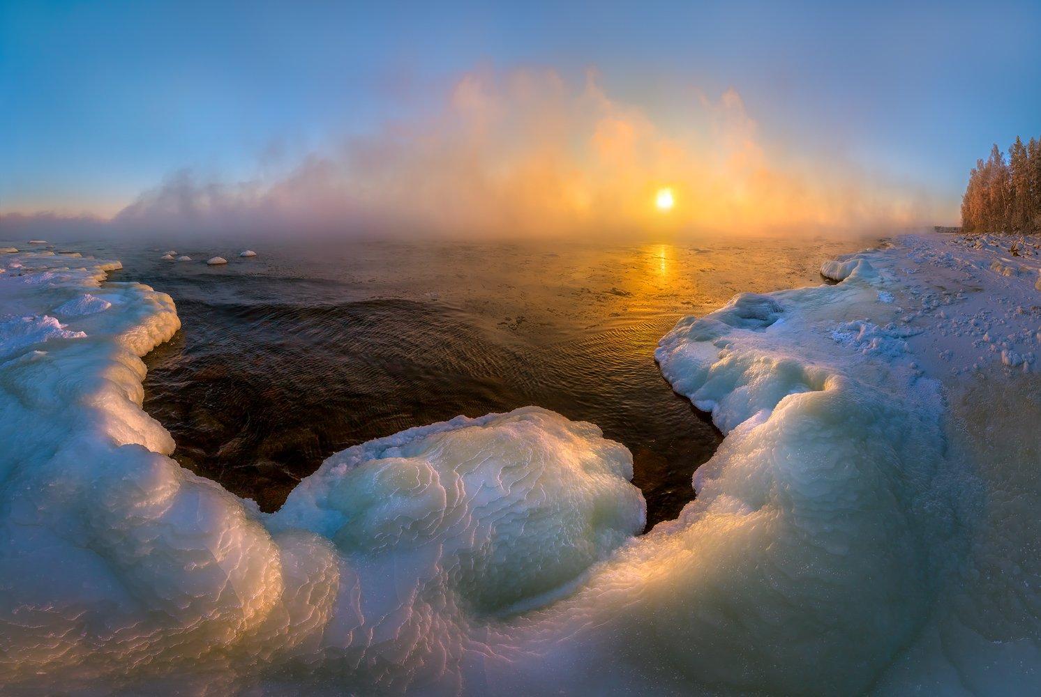 ладожское озеро, лёд, берег, мороз, закат, зима, ленинградская область., Лашков Фёдор