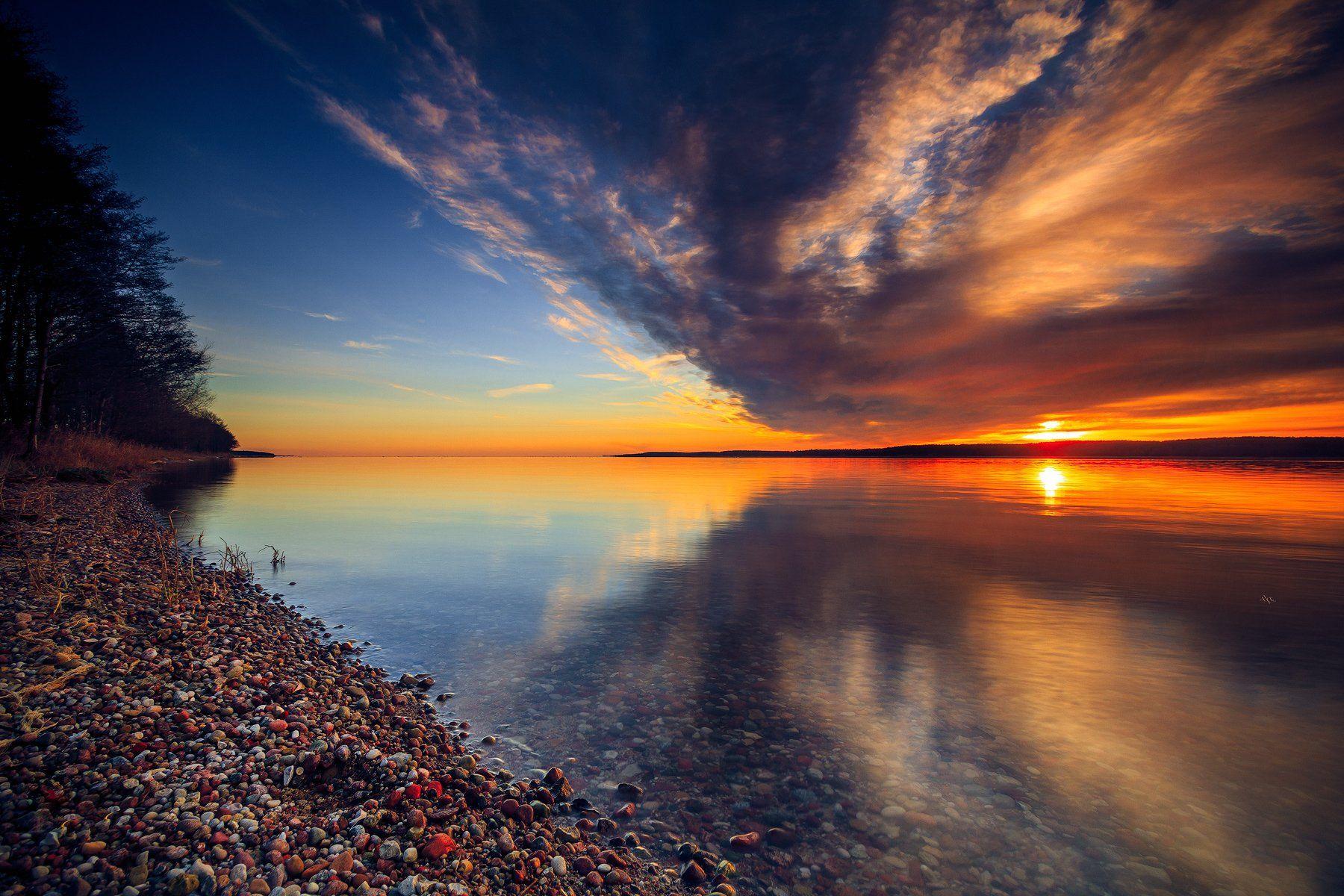 sunset, colors, calm, sun, reflection, curonian gulf, Руслан Болгов (Axe)