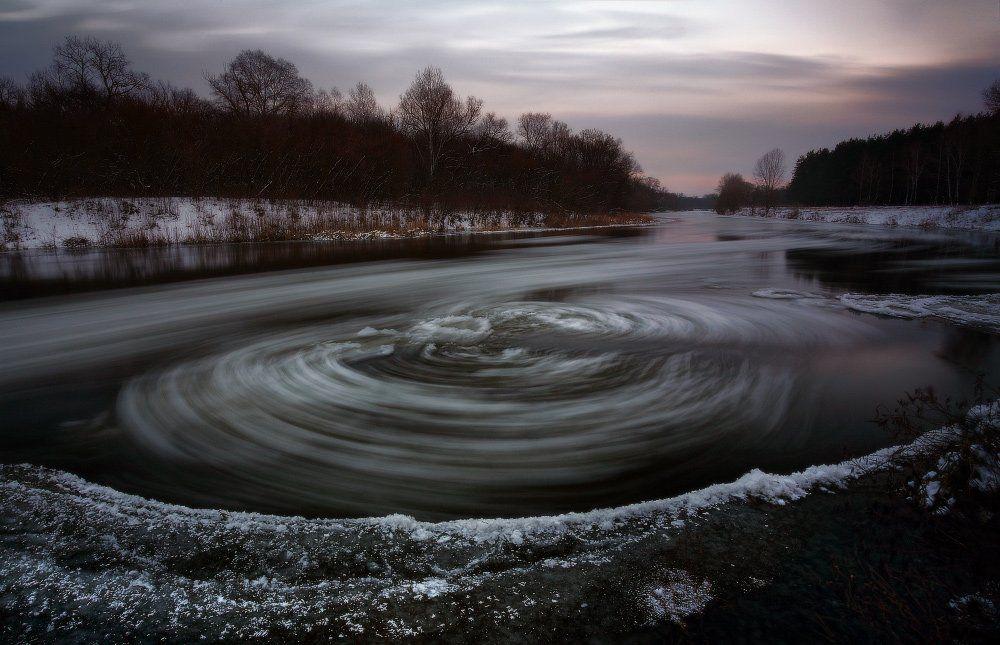 вечер, декабрь, зима, лед, река, Петриченко Валерий
