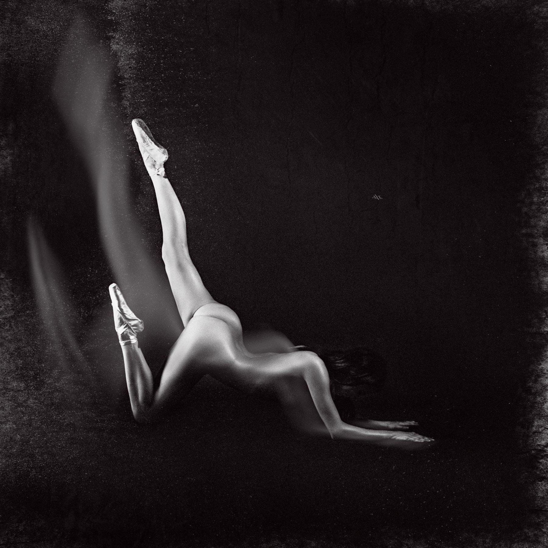 woman, ballerina, nude, black and white, Руслан Болгов (Axe)