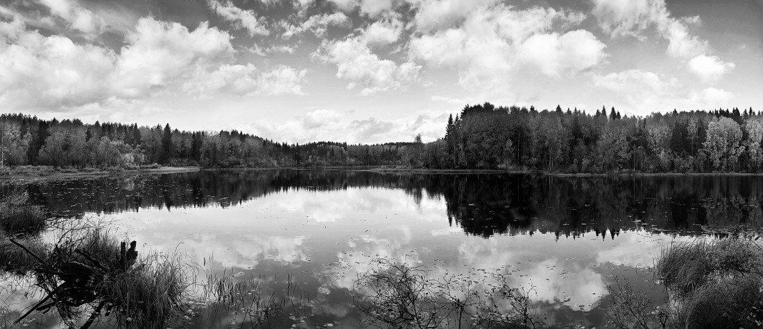 облака, озеро, лес, осень, вода, небо, панорама, KSergeyV