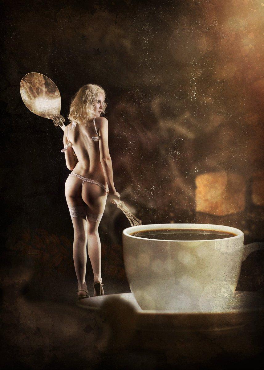 кофе, ню, девушка, чашка, блондинка, de-zigner, Вадим