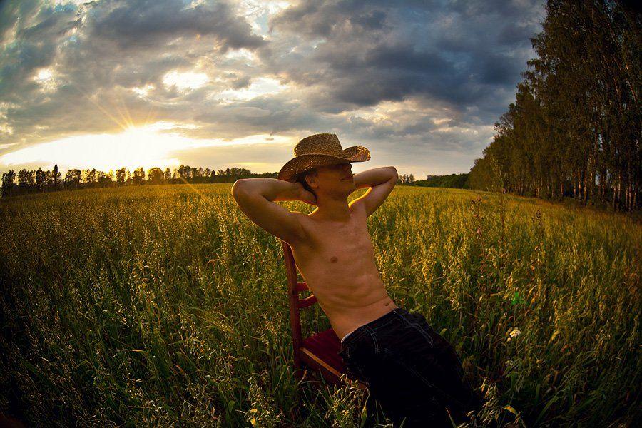 портрет, лето, поле, стул, закат, Александр Ёж