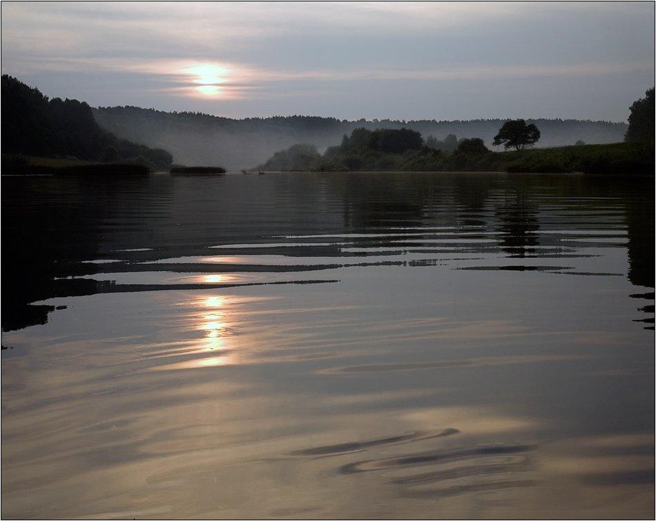река, угра, тихий, вечер, волна, туман, Boris Bort
