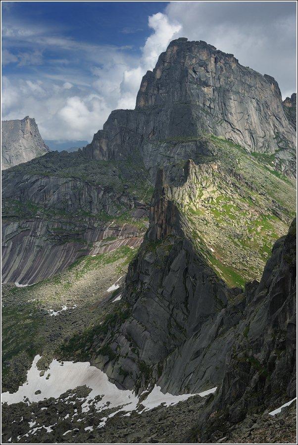 большой, высокий, голубой, горы, ергаки, камни, красноярский край, крутой, пейзаж, перевал, пик, поход, природа, путешествия, саяны, серый, сибирь, скалы, снег, туризм, хребет, Дмитрий Антипов