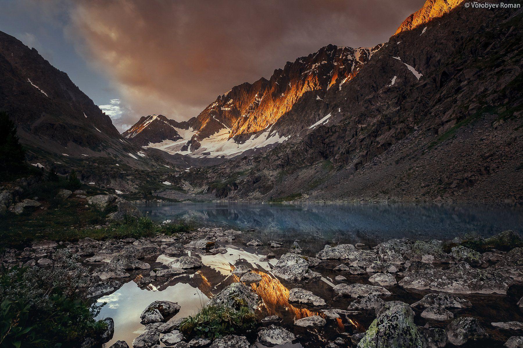 алтай, облака , горное озеро, горный алтай, небо , озеро, пейзаж , горы ,рассвет, Roman Vorobyev