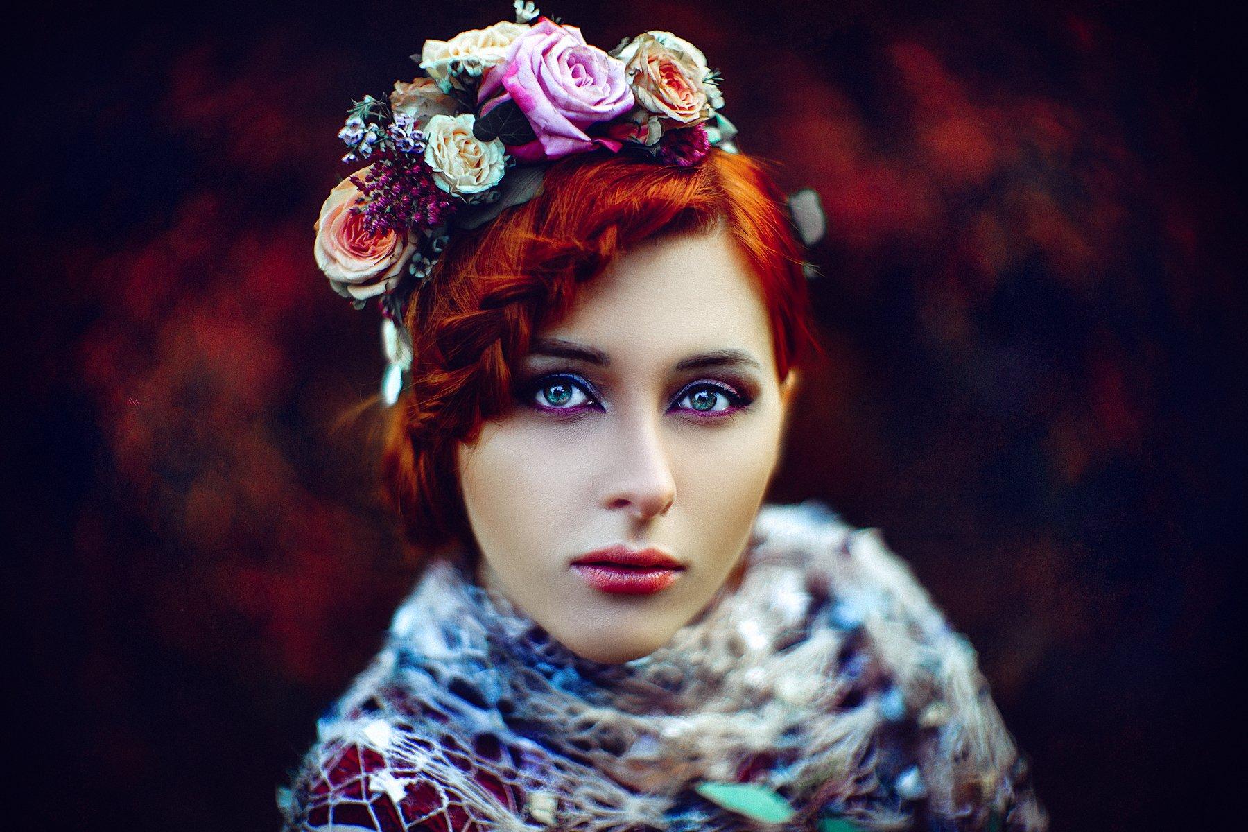 woman, portrait, flowers, beauty, Руслан Болгов (Axe)