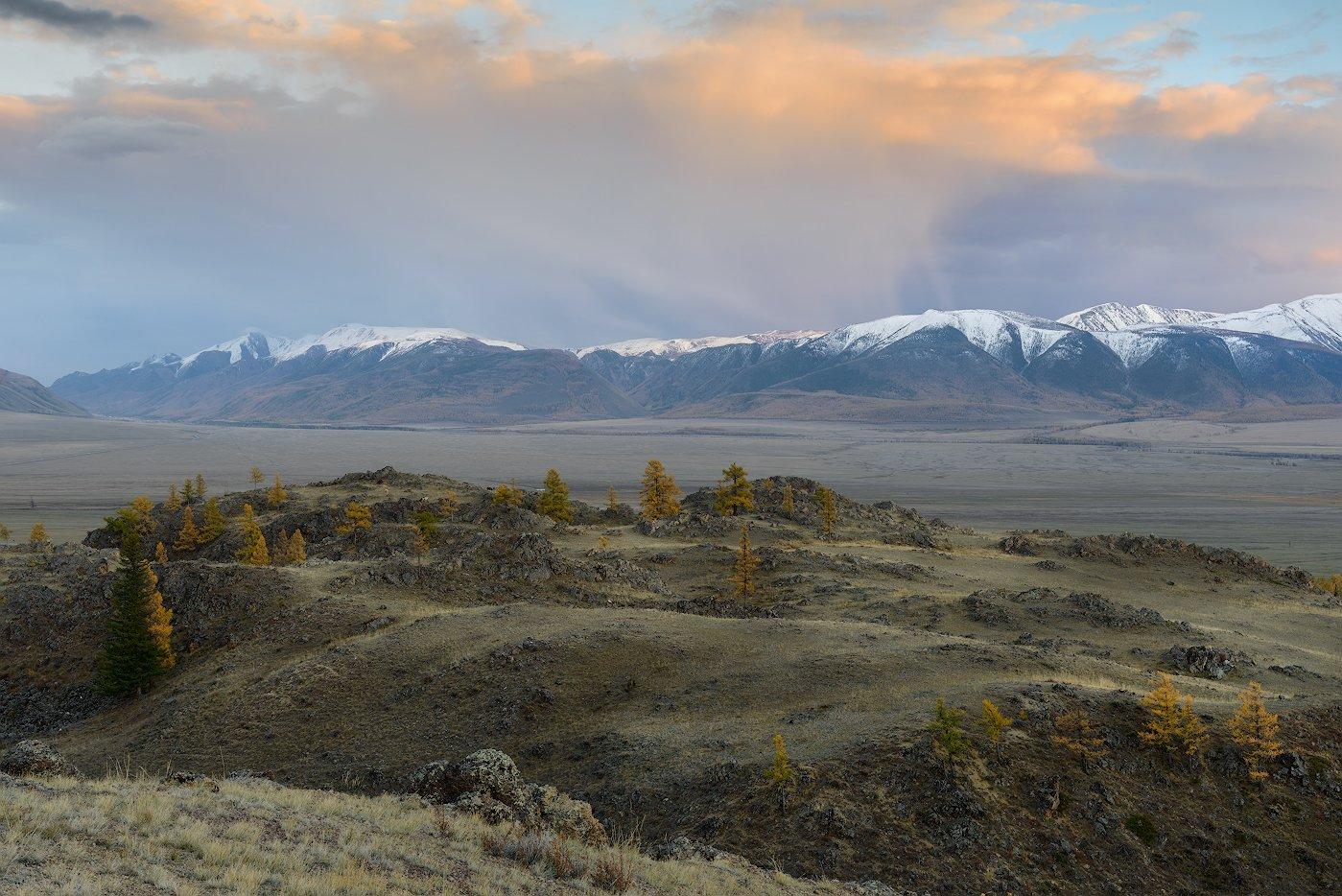 пейзаж, осень, горы, алтай, закат, облака, Dmitriy  Baginskiy