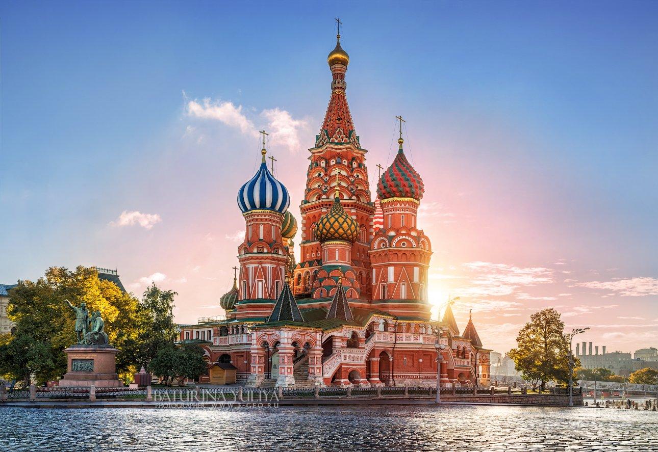 москва, собор василия блаженного, утро, рассвет, город, архитектура, красная площадь, Юлия Батурина