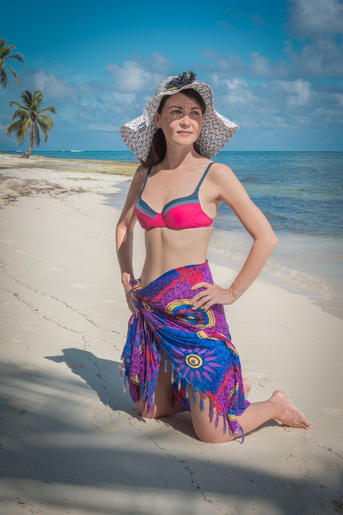 модель, девушка, пляж, океан, море, пальмы, Атлантика, Доминиканская Республика, лето, небо, облака, Sergey Oslopov