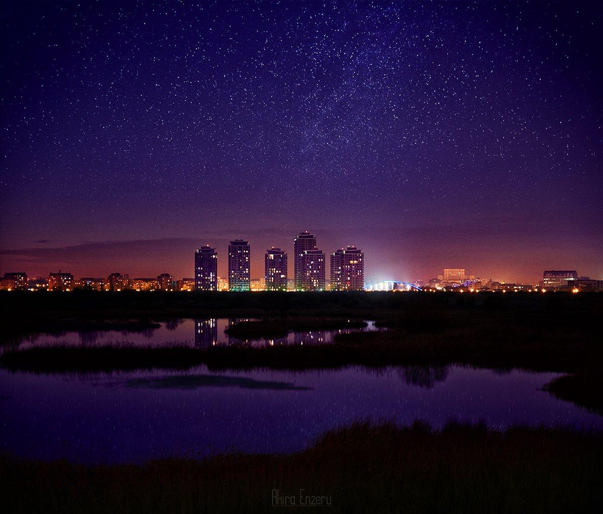 night, landscape,, Akira Enzeru