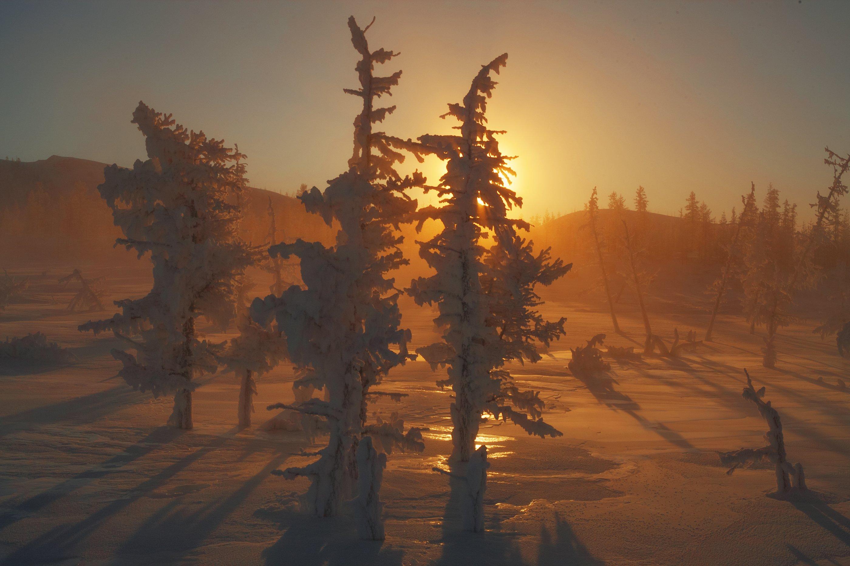 Колыма, Сибирь, наледь, зима, мороз., Владимир Рябков