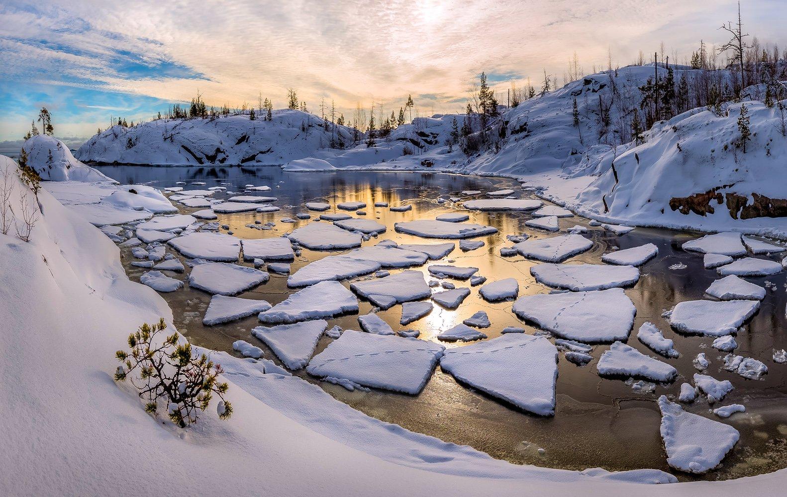 ладожское озеро, карелия, остров, зима, снег, рассвет, бухта, лёд, фототур, льдины, берег., Лашков Фёдор