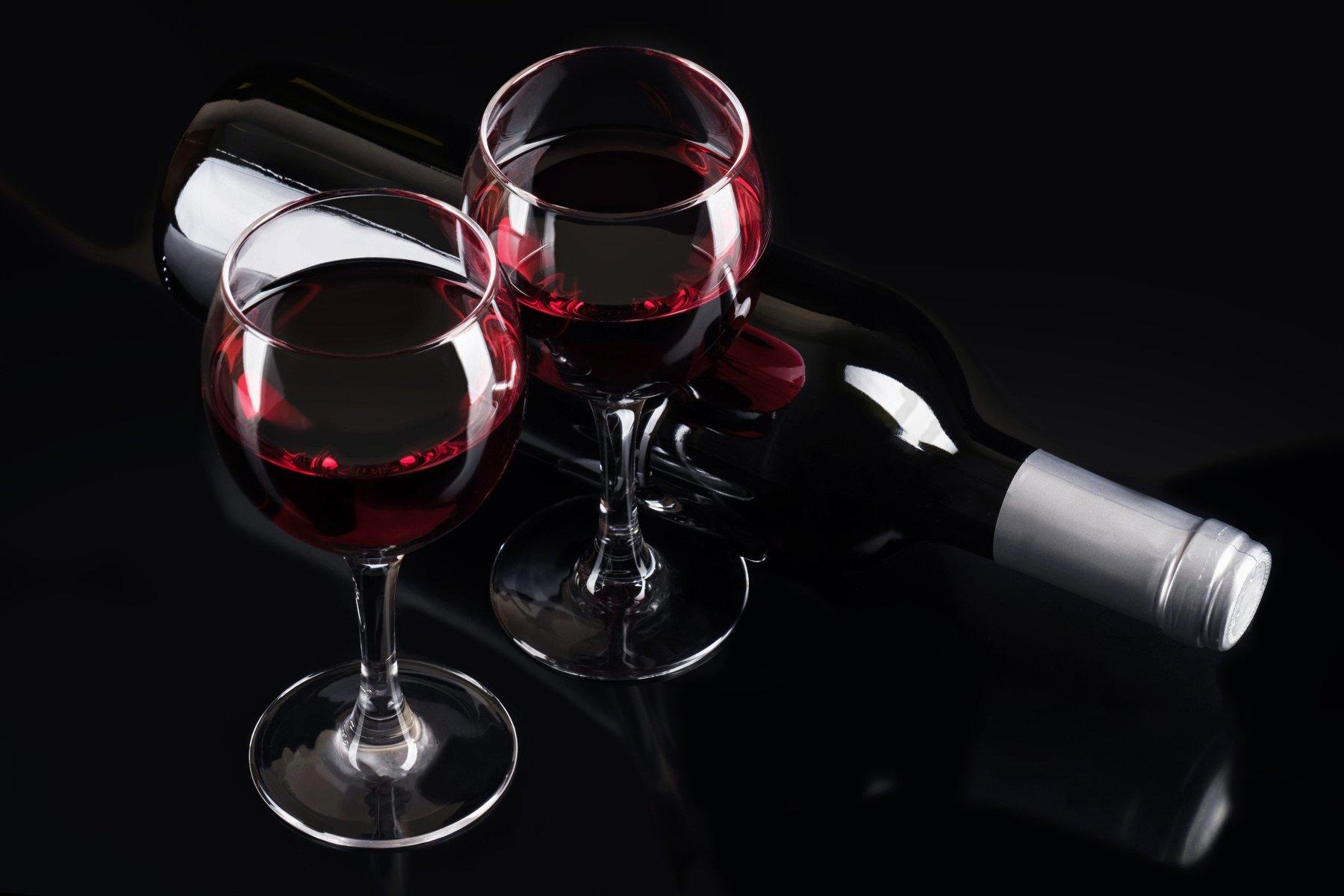 красное вино, бокалы, бутылка, черное, Оксана Клименкова