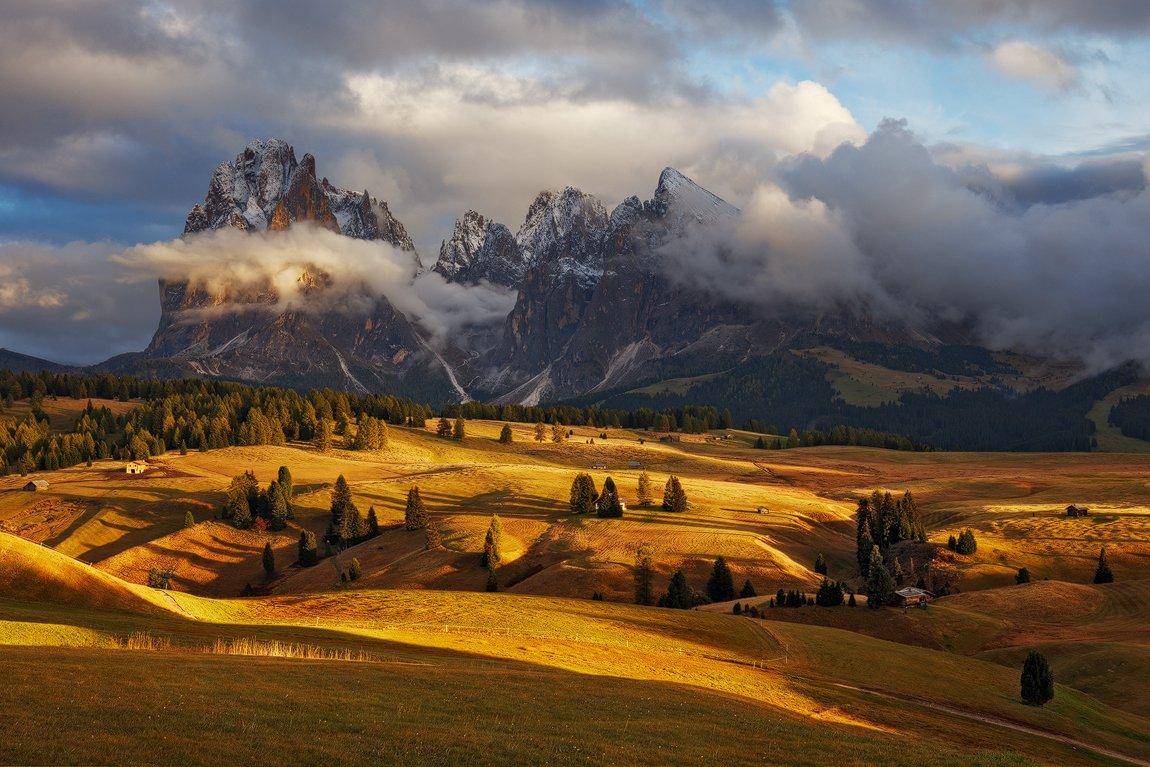 dolomites, dolomiti, italy, light, autumn, fall, evening, meadow, trees, huts, landscape, nature, alps, mountains, sassolungo, peaks, Martin Rak