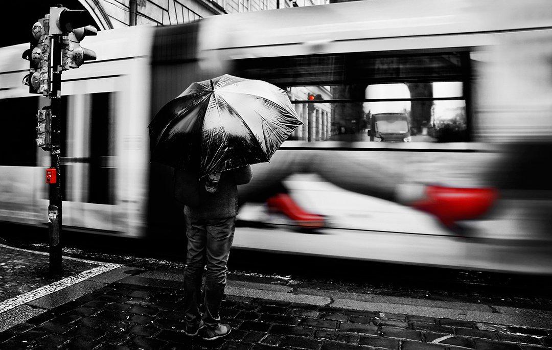 трамвай, дождь, зонт, прага, светофор, красный свет, Алла Соколова