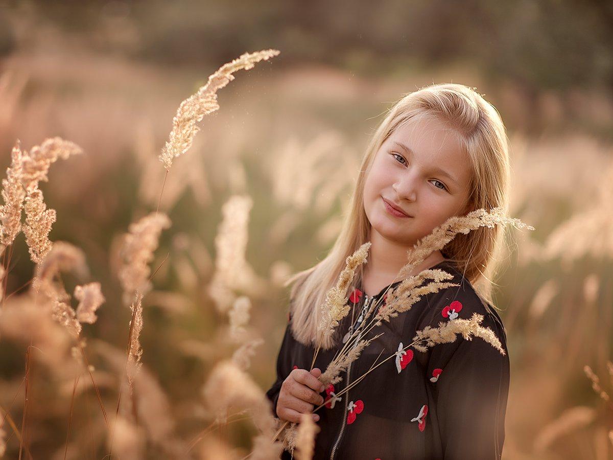 девочка,лето,портрет,колоски,вечер,дети,детская фотография, Юлия Лаптева