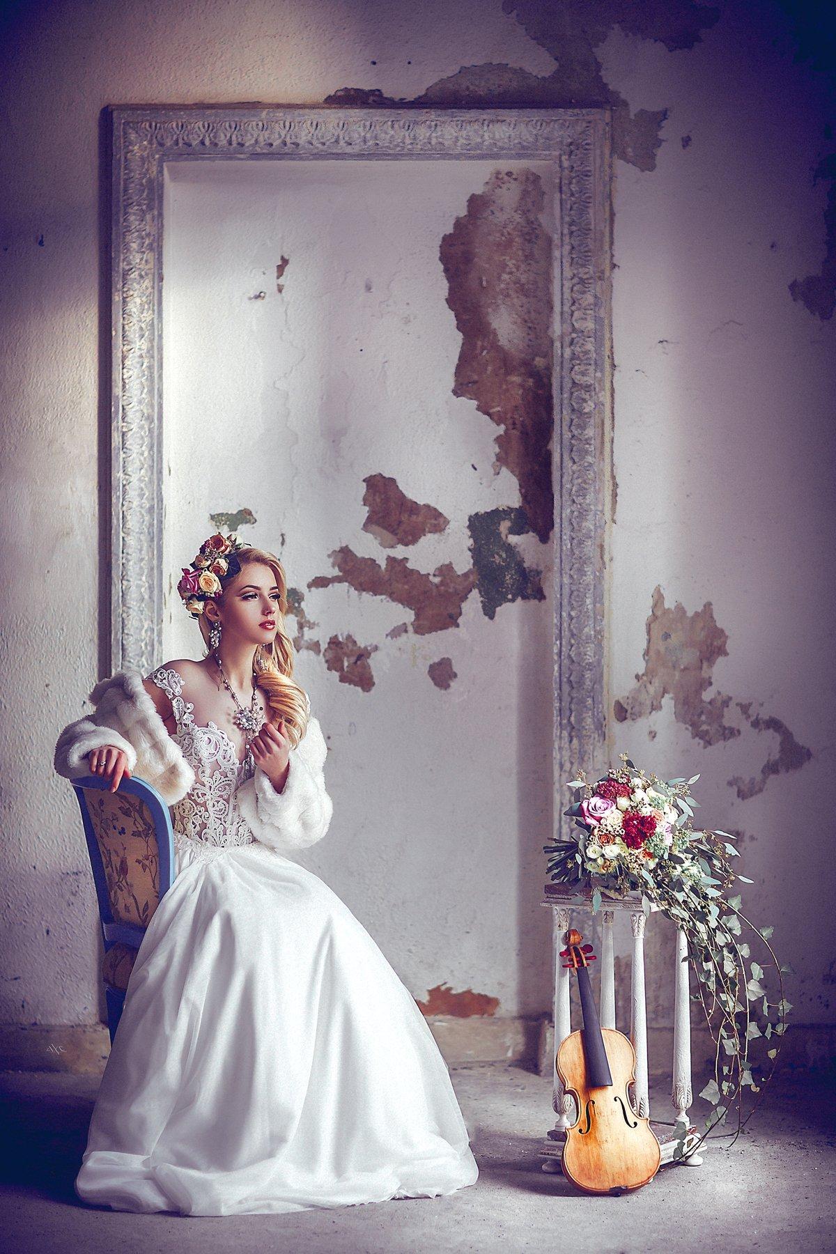 woman, portrait, wedding, dress, music, beauty, Руслан Болгов (Axe)