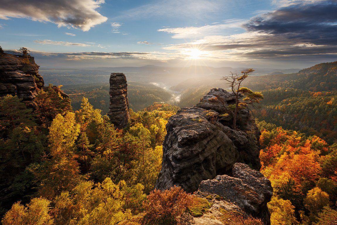 light, evening, colors, rocks, autumn, trees, elbe sandstone mountains, bohemian switzerland, czech republic, clouds, sky, cliffs, sunset, Martin Rak