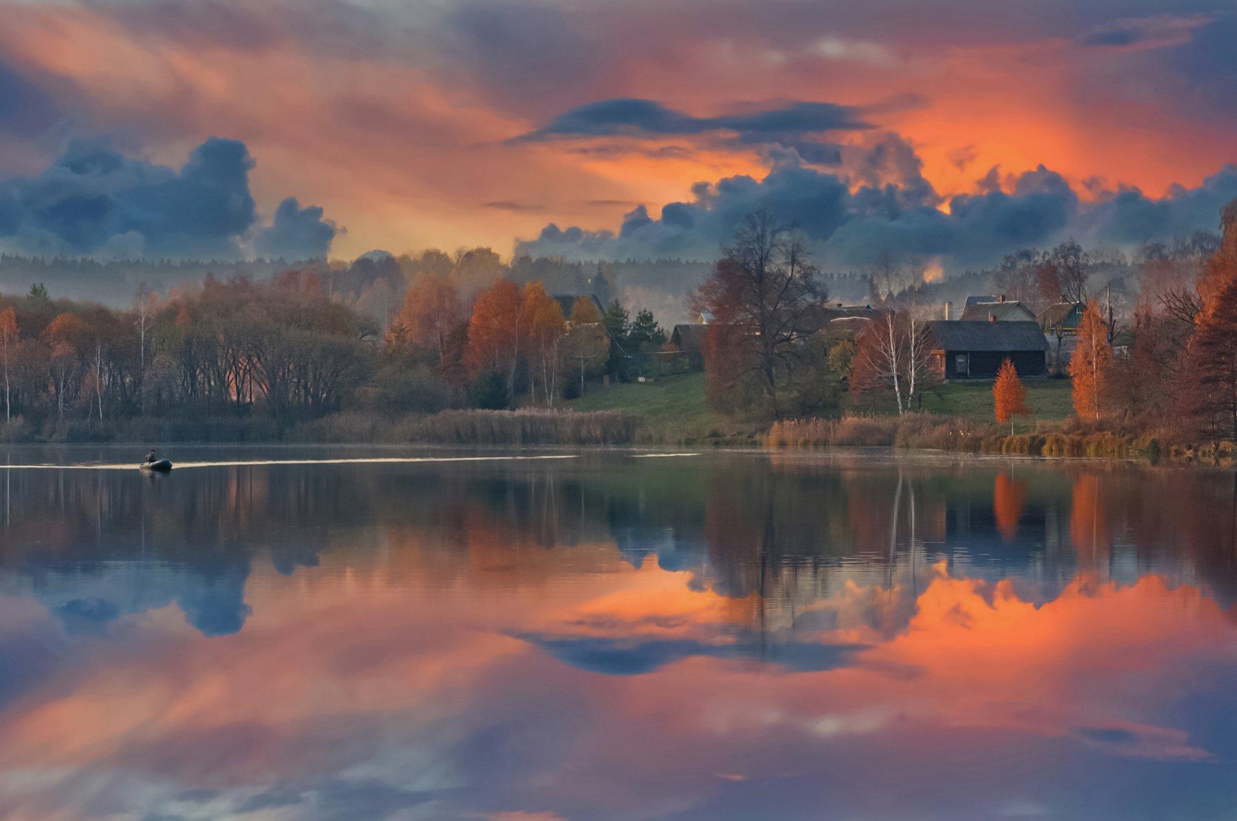 закат, осень, речка, природа, Александр Гвоздь