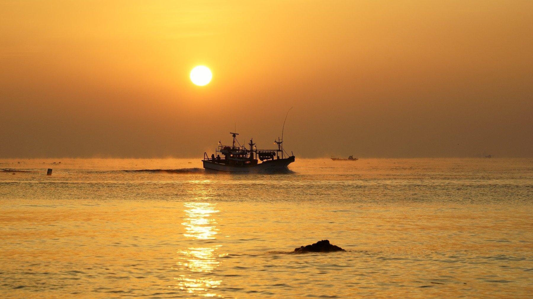 asia,south korea,korea,sunrise,fishing boat, sun, horizontal,waves,water fog, reflection,morning,new year,, Shin