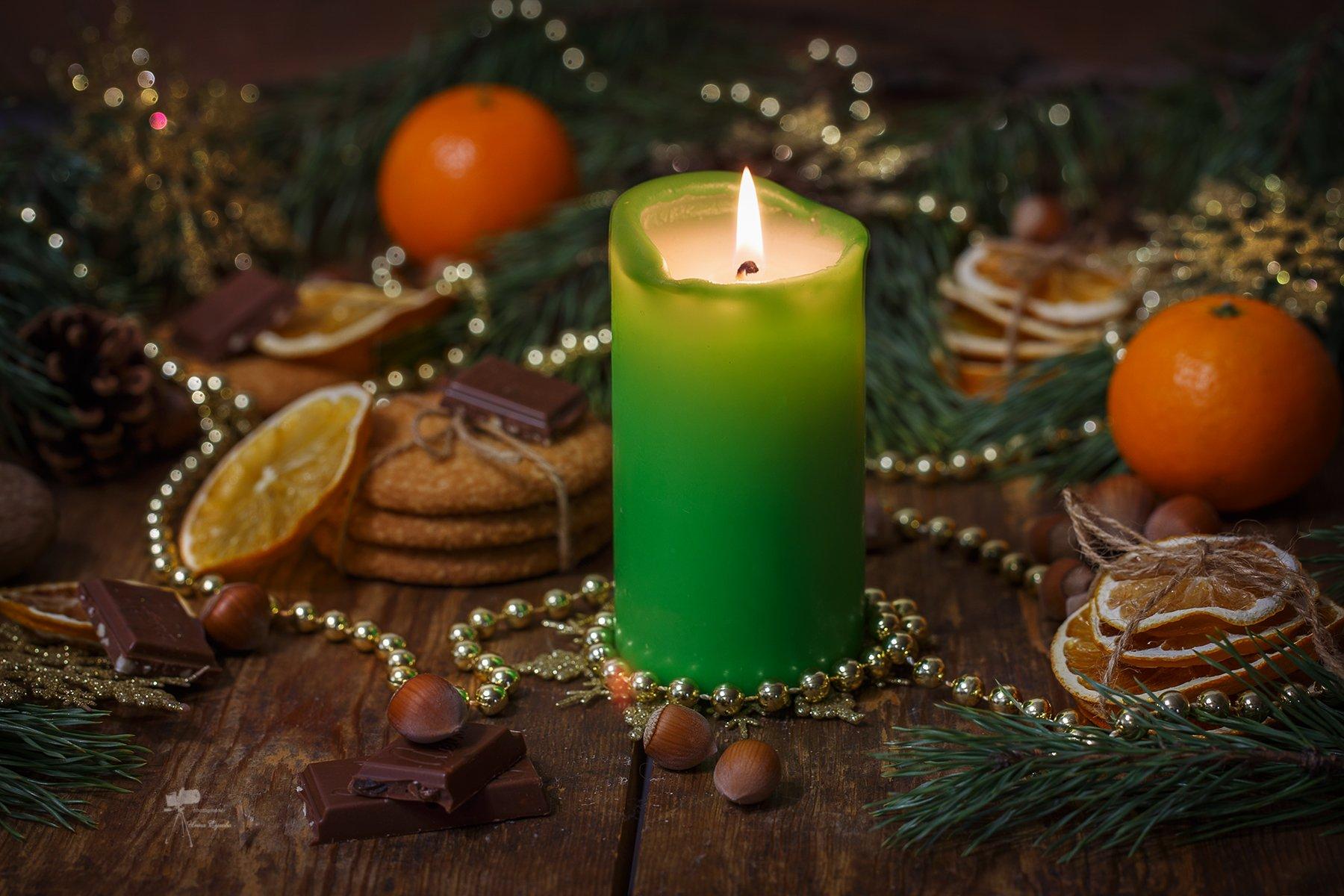 рождество,новый год,елка,свеча,цитрусовыу,мандарины,апельсины,лимоны, Инна Сухова