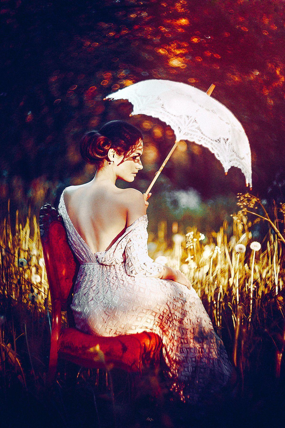woman, portrait, garden, spring, sun, bokeh, toning, beauty, umbrella, Руслан Болгов (Axe)