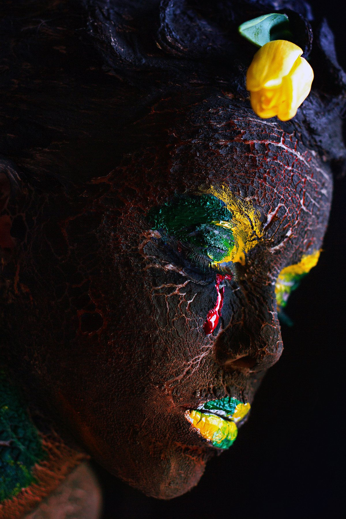 people, girl, portrait, art, planet, life, texture, relief, eye, neck, paint, makeup, body art, black, opinion, creative, Ковалёв Иван