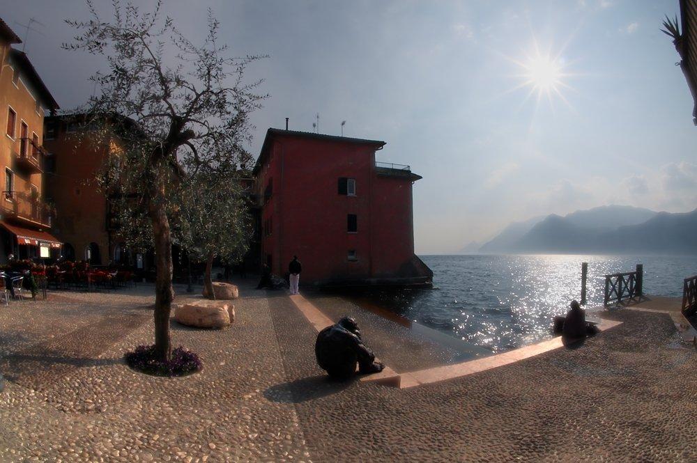 lago di garda, италия, озеро пристань, солнце, один, два, дерево, Alexey Elkin