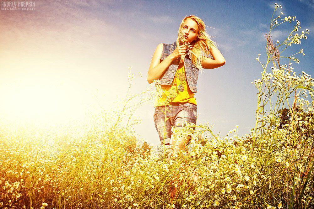 настя, девушка, поле, цветы, фотошоп, Андрей Крепких (Sound Wave)