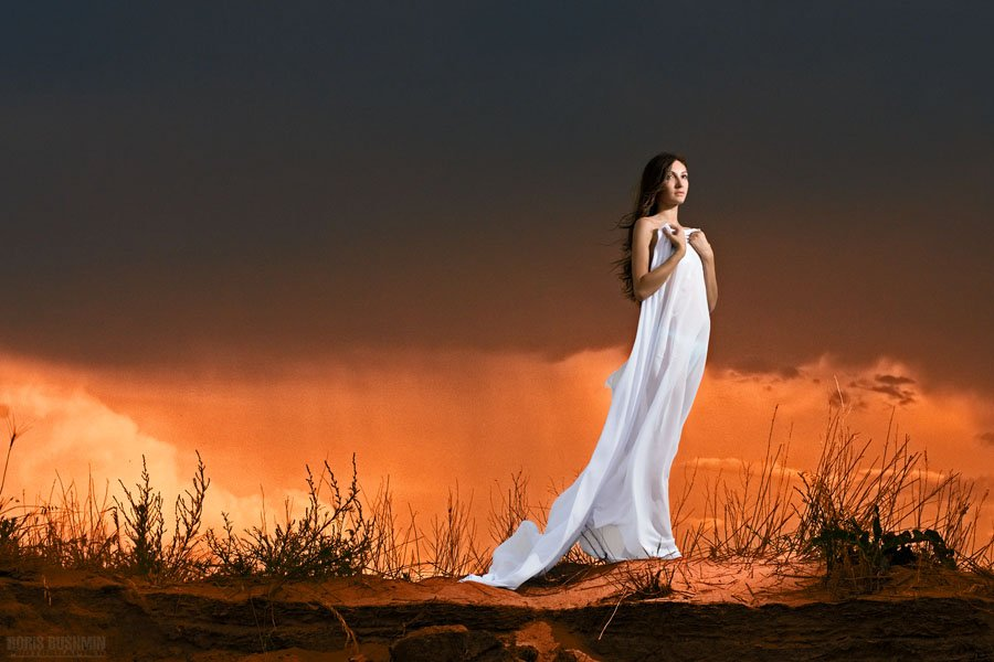 девушка, модель, гламур, портрет, марс, марсиане, марсианка, закат, берег, песок, небо, борис бушмин, Борис Бушмин