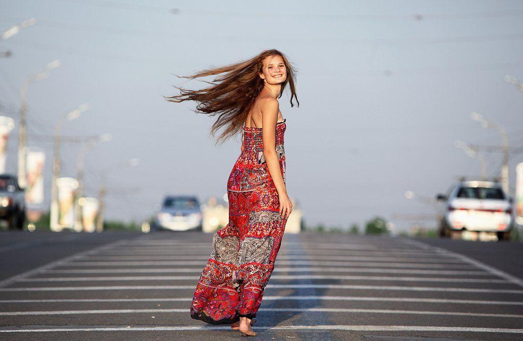 трасса, машины, девушка, сарафан, свобода, лёгкость, Borodul'ka