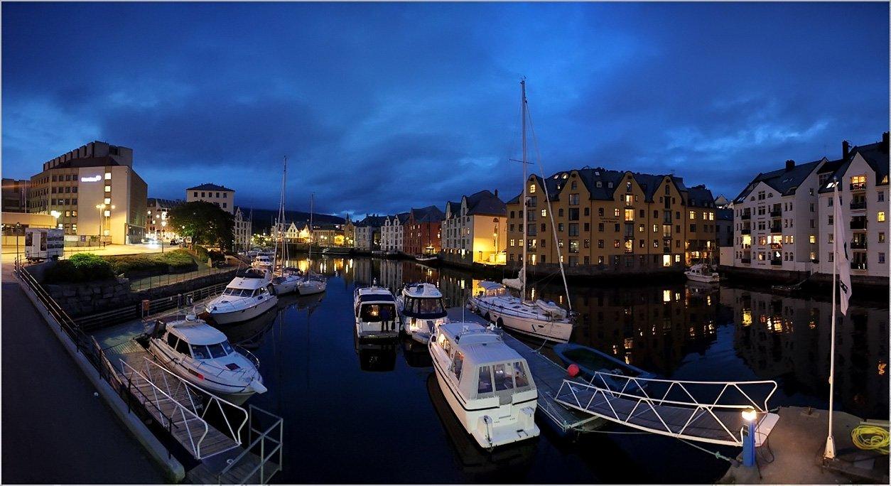 норвегия,ночь,набережная,яхты, zhulevalena