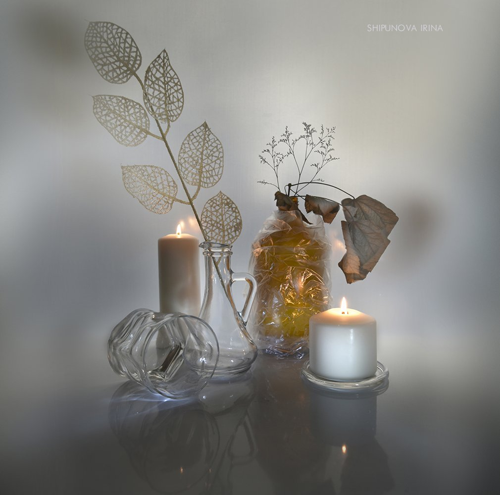 свечи стекло листья, Шипунова Ирина